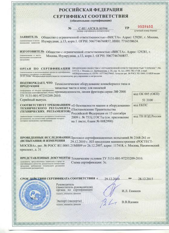 сертификация конвейерного оборудования