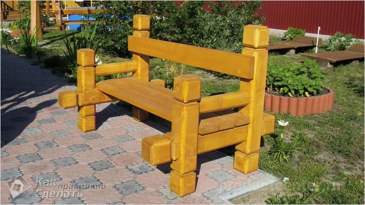 Скамейка из бруса фото