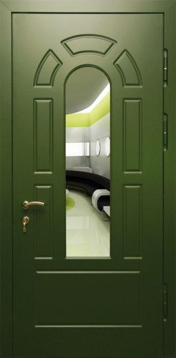 стальные входные двери со вставкой и зеркалом